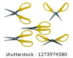 set of yellow scissors isolated ...   Shutterstock . vector #1273974580