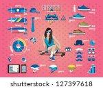 hipster girl info graphic ... | Shutterstock .eps vector #127397618