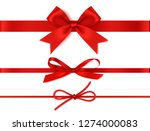 set of decorative red bows... | Shutterstock .eps vector #1274000083