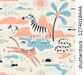 wild savannah park with zebra ... | Shutterstock .eps vector #1274018446