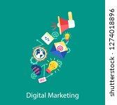 digital marketing concept line...