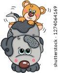 teddy bear above cute grey dog | Shutterstock .eps vector #1274064169