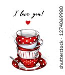 beautiful vintage cups and... | Shutterstock .eps vector #1274069980