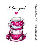 beautiful vintage cups and... | Shutterstock .eps vector #1274069983