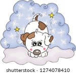 illustration with cute white dog | Shutterstock .eps vector #1274078410