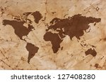 old world map on creased and... | Shutterstock . vector #127408280