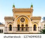 Picturesque facade of Spanish Synagogue in Josefov, Prague, Czech Republic.