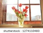 flowers in the vase. home sweet ...   Shutterstock . vector #1274110483