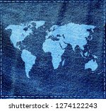 world map on a jeans texture... | Shutterstock . vector #1274122243