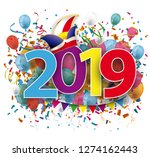 201 9 with colored confetti and ... | Shutterstock .eps vector #1274162443