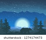bear in the snowy night forest...   Shutterstock .eps vector #1274174473