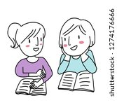 cute teenage girls talking and...   Shutterstock .eps vector #1274176666