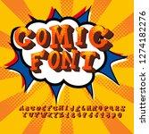 comic retro font set. alphabet... | Shutterstock .eps vector #1274182276