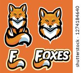 fox mascot character set | Shutterstock .eps vector #1274184640