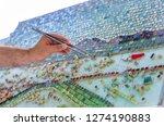mosaic as a ceramic or ceramic...   Shutterstock . vector #1274190883