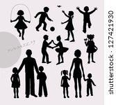 silhouettes of little children... | Shutterstock .eps vector #127421930