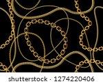 seamless golden chain pattern | Shutterstock .eps vector #1274220406