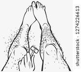 hairy legs  razor in hand... | Shutterstock .eps vector #1274226613