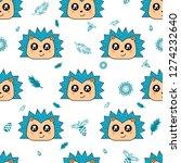 cute kids hedgehog pattern for... | Shutterstock .eps vector #1274232640