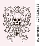 skull with a crown and climbers ... | Shutterstock .eps vector #1274236186