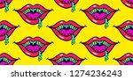 halloween lips  seamless... | Shutterstock .eps vector #1274236243