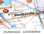 Shelbyville. Indiana. USA on a geography map
