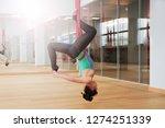 adult woman practices aero anti ... | Shutterstock . vector #1274251339