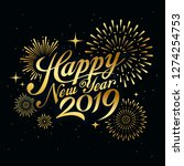 happy new year 2019 message... | Shutterstock .eps vector #1274254753