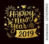 happy new year 2019 message... | Shutterstock .eps vector #1274259043
