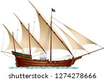 caravel pirate ship  age of... | Shutterstock .eps vector #1274278666
