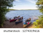 Canoes on the lake coast, Algonquin Park, Canada