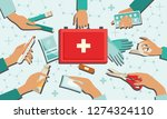 medical kit set with necessary... | Shutterstock . vector #1274324110
