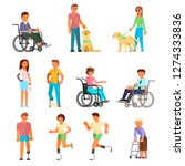 Stock photo disabled people icon set flat illustration isolated on white background people using mobility 1274333836