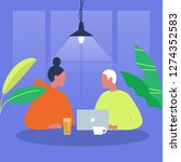 dialog. two characters sitting...   Shutterstock .eps vector #1274352583