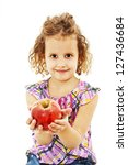 beautiful curly girl with apple.... | Shutterstock . vector #127436684