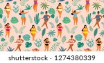 tropical jungle pattern with... | Shutterstock .eps vector #1274380339