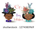 happy valentine's day. boy and... | Shutterstock .eps vector #1274383969