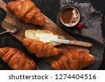 fresh croissants with butter... | Shutterstock . vector #1274404516