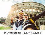 happy caucasian couple is... | Shutterstock . vector #1274423266