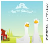 farm animal and rural landscape ... | Shutterstock .eps vector #1274431120