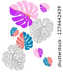 vector tropical pattern with... | Shutterstock .eps vector #1274442439