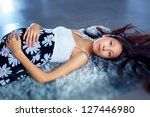 Young pregnant asian woman portrait. - stock photo
