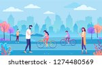 modern cityscape with people... | Shutterstock .eps vector #1274480569
