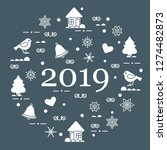 happy new year 2019 card.... | Shutterstock .eps vector #1274482873