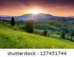 Stock photo majestic sunset in the mountains landscape carpathian ukraine 127451744