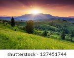 Stock photo majestic sunset in the mountains landscape carpathian ukraine 127451744