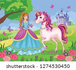 beautiful princess and white... | Shutterstock . vector #1274530450