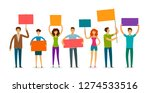 crowd of people with banner and ... | Shutterstock .eps vector #1274533516