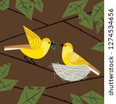 cute birds couple poster. comic ...   Shutterstock . vector #1274534656