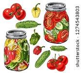 assorted homework of vegetables.... | Shutterstock .eps vector #1274543803